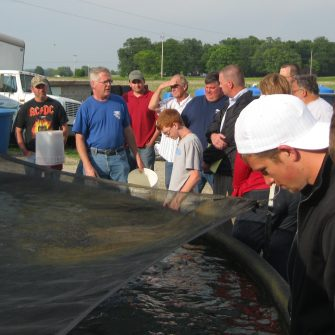 Tour Group visiting Freshwater Farms of Ohio