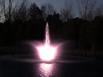 WaterSmith 2hp pond fountain showing lily nozzle pattern 108w at night