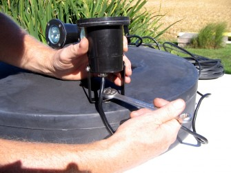 Attaching WaterSmith economy light kit fixtures for WaterSmith pond fountains to float