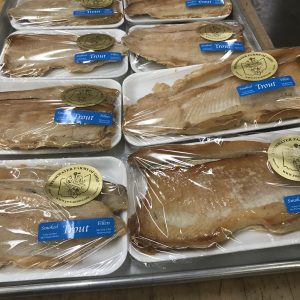 smoked trout packaged