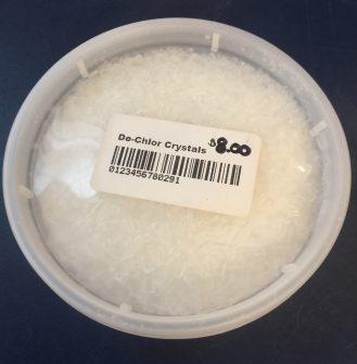 de-chlor crystals